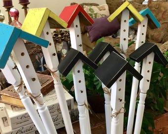 Birdhouse Garden Stakes, Yard Art, Garden Decor, Large garden stake, bird house, outdoor art, birdhouse, Mother's Day gift