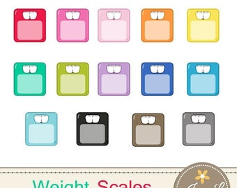50% OFF Weight Scale Clipart, Fitness Scale, Weighing Scale, Bathroom Scale for Planners, Digital Scrapbooking, Invitations, Stickers, Label
