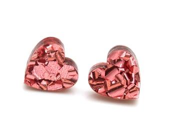 Rose Gold Glitter Acrylic Heart Studs - Small Dusky Pink Glitter Heart Post Earrings - Laser Cut Acrylic Heart Stud Earrings