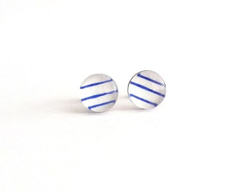 Nautical Earrings, Blue and White Earrings, Beach Stud Earrings, Striped Small Stud Earrings, Simple Studs, Minimal Stud Earrings