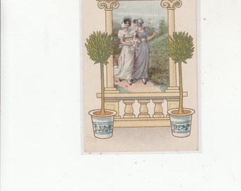 Antique Unused Postcard-Two Woman Walking Dressed In Jane Eyre Style Clothing-Framed W Embossed Topiary & Architecturals
