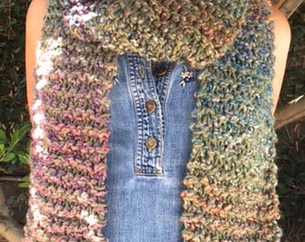 Autumn in the Desert ombre hand knit scarf