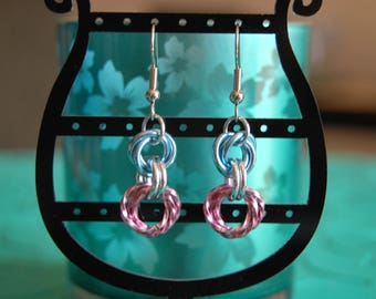 Baby pink and Blue Rosette Earrings
