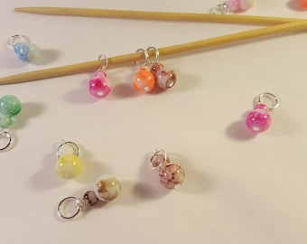 Knitting stitch markers, set of 4, MARBLES, assorted colours