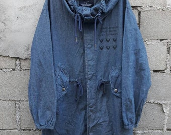 Vintage Hang Ten fish tail Parka denim trench coat Small Size Snap Button