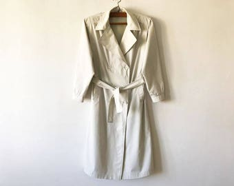 Off White Womens Trenchcoat Light Beige Women's Trench Coat Classic Raincoat Double Breasted Trench Preppy Trenchcoat Size Medium Overcoat