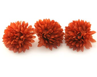 3 Rust Orange Ball Mums - Artificial Flowers, Silk Flower Heads