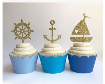 Nautical Toppers| Ahoy It's A Boy Toppers| Nautical Picks| Glitter Cupcake Toppers| Sea Toppers| Cupcake Toppers