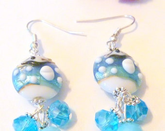 Blue and White Lampwork and Crystal Beaded Earrings