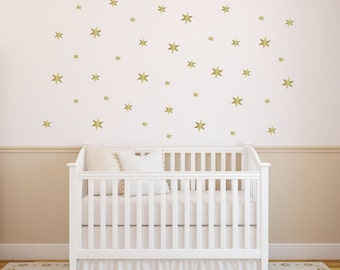 Gold Star Wall Decals - Nursery Decor - Gold Decals - Playroom Decor - Girls Nursery Decor - Vinyl Wall Decals - Nursery Wall Decals