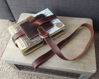 Classic Brown Leather Book Strap with Nickel Hardware