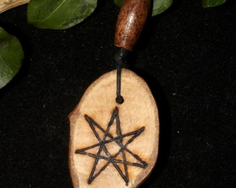 English Oak Wooden Fairy Star Pendant - For Strength & Courage - Pagan, Wicca, Witchcraft, Elven Star, Septagram