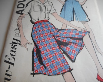 Vintage 1950's Advance 2827 Blouse and Culotte Sewing Pattern Size 18 Bust 38 Waist 30