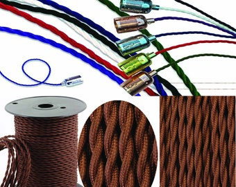 Twist Braided Fabric Wire 2 Core Electric Light Cable Brown0.75mm
