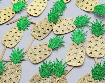 Pineapple Cupcake Topper ; Pineapple Party Decor ; Tropical Cake Decoration