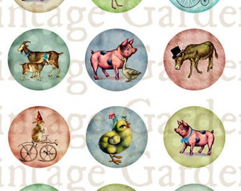 Farm Animals Party - Inchie Circles - Digital Collage Sheet - printable altered art round pendant necklace bottlecaps cabochon jewelry