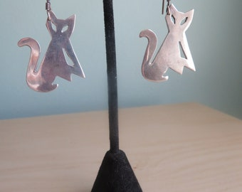 Vintage Mexican TAXCO Sterling Silver Cats Kitties Earrings Signed MEXICO 925