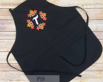 Kitchen apron personalized, custom craft, monogram apron, chef apron embroidery, mother's day gift apron, woman's apron, cooking, art