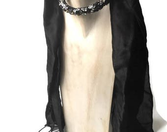 Beaded scarf jewelry - black Silk  scarf  & pearls, unique gift for her
