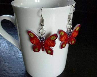 Orange and Red butterflies in acrylic on silver hooks earrings