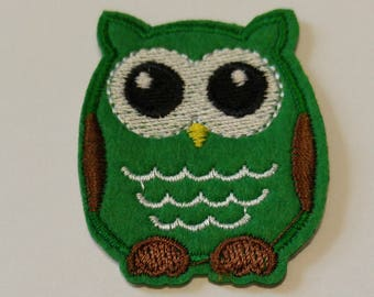 1 Green  Owls Iron on Patch / Animal Owl Fabric/Sew on Patch - #SP-00128