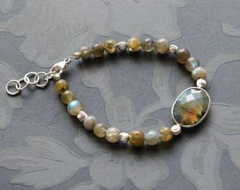 Flashing Labradorite 925 Sterling Silver ,Gemstone Bracelet,Crystal Healing,Spiritual,Balance,Powerful Protector