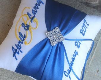 Wedding Ring Bearer Pillow, Personalized, Monogrammed, Custom Wedding Decor, Design Your Own, Diamond Deco Rhinestone, Royal Blue Horizon