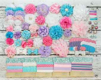 DIY Headband Making Kit - 1st Birthday Party - Baby - Cotton Candy - MAKES 10 or 35+ HEADBANDS! Pink, Light Pink, Lavender, Blue - SHK1200
