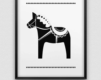 dala horse print // nordic style print // black and white home decor // Scandinavian style print // Scandinavian design print // dala horse