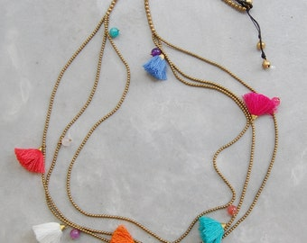 Mixed Colored Multi Strand Tassel Necklace with Brass Beads