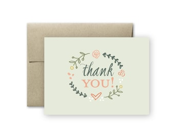 Thank You Card - Floral Thank You Card - Hand Drawn Thank You Card - Wedding Thank You Card - Shower Thank You Card - Blank Thank You Card
