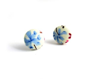 Floral Earring Studs, Blue Flower Studs, Blue Floral Posts, Shabby Chic Earrings, Floral Posts Studs, Fabric Button Studs, Romantic Earrings