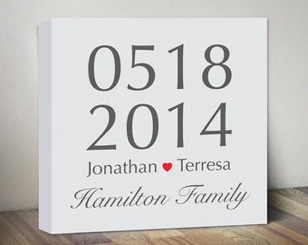 Personalized Wedding Date, Engagement Gift Couples Family Name & Date, Anniversary Gift, Love Canvas Art Print Sign, Couples Wall Art Print