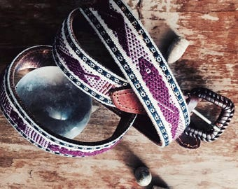 Vintage leather belt, featuring a Mexican textile pattern and braided  buckle