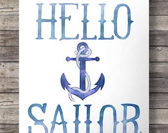 Hello Sailor, Watercolor Printable art, art print, wall art,  Anchor, Blue Nautical watercolor art print, nautical decor Printable wall art