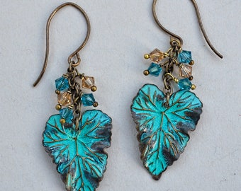 Forest Floor, Earrings of Patina Brass Leaves with Swarovski Crystals