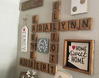 Personalized Wooden letters- Oversized letter tiles- family name tiles- wood wall art- rustic wood wall art- Choose your names/words!