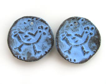 Hen Beads - ceramic beads, blue beads, stoneware, rustic, tribal, ethnic, pair for earrings, coin beads, primitive, animal beads