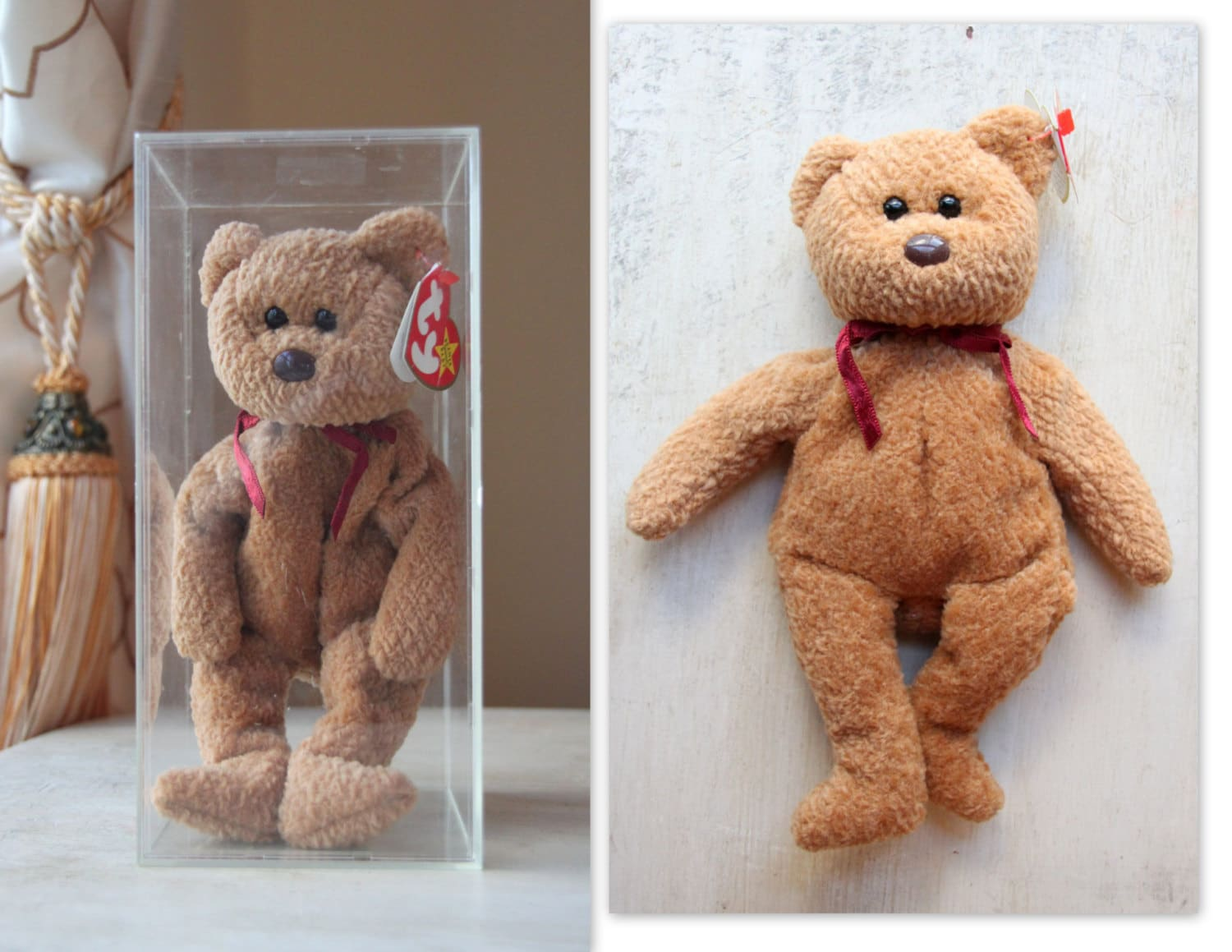 Ty Beanie Baby Curly Bear Value - Parchment N Lead 9a9d742130b