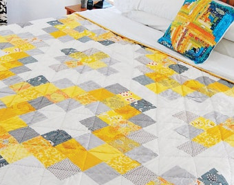 Sunshine Medallion Easy Quilt Pattern PDF, Modern Quilt,Instant Download