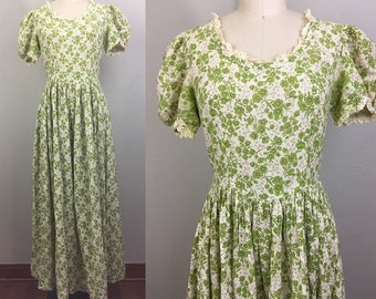 Vintage 30s 40s Green Floral Cotton Dress M