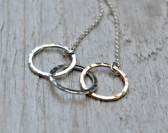 Silver & Gold Fill Circle Necklace - Sterling Silver, Rose or Yellow Gold Fill, Mixed Metal, 3 Ring Necklace, Triple Circles, Hammered Metal