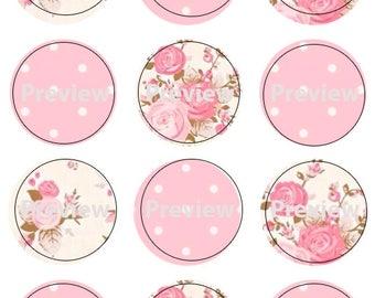 Pink Polka Dot and Floral Print Edible Image Cupcake Topper