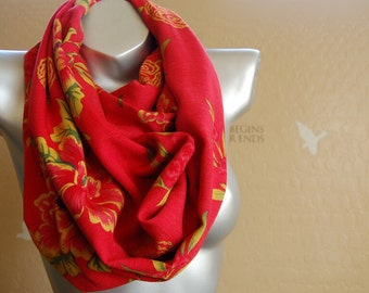 Beautiful infinity scarf,Colorful print  scarf ,  red and yellow print scarf, gift for her.Cute handmade  scarf.gift for her