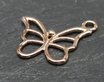 Rose Gold over 925 Sterling Silver Butterfly Charm 15mm