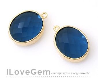 SALE / 10pcs /  B2721  Matt Gold plated, Montana Blue, Oval pendant, Glass pendant, Framed glass, Faceted glass charm