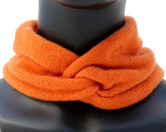 Orange Knit Cashmere Scarf Women's Knit Ear Warmer Gift For Her Neck Wrap Cashmere Headwrap Soft Scarf Chemo Headband Cashmere Knit