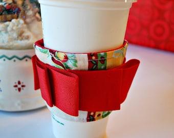 SALE! Christmas Coffee Cozy, Starbucks Cozy, Eco Friendly Cozy, Coffee Sleeve, Stocking Stuffer, Housewares Cozies, Home and Living Cozies