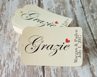 Grazie Tag, Thank You Tag, Wedding Tag, Thank You Gift, Bridal Shower, Wedding Shower, Baby Shower Grazie Tag (221)