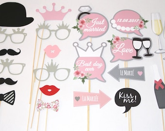 set of 22 personalized wedding photobooth props